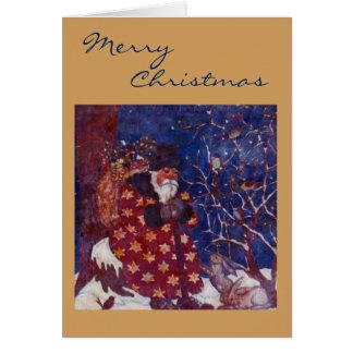 Santa Sitting On A Snowy Log Greeting Card