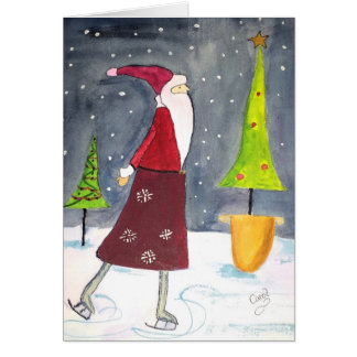 Santa Skating Holiday Card