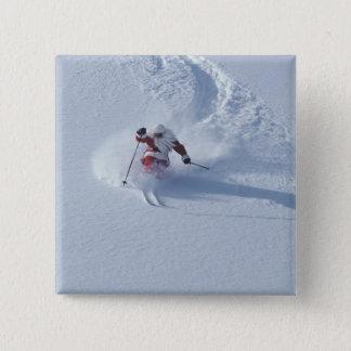 Santa Skiing at Snowbird Ski Resort, Wasatch Pinback Button