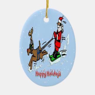Santa Skiing Christmas Ornament Oval