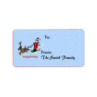 Santa Skiing Gift Tags