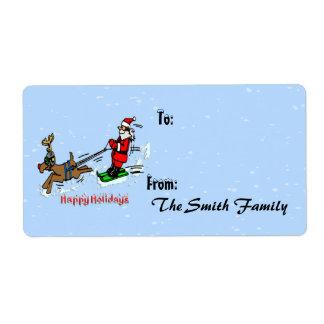Santa Skiing Gift Tags (large)