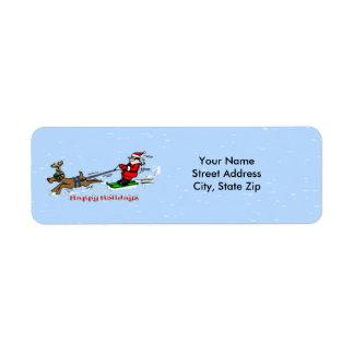 Santa Skiing Return Address Label