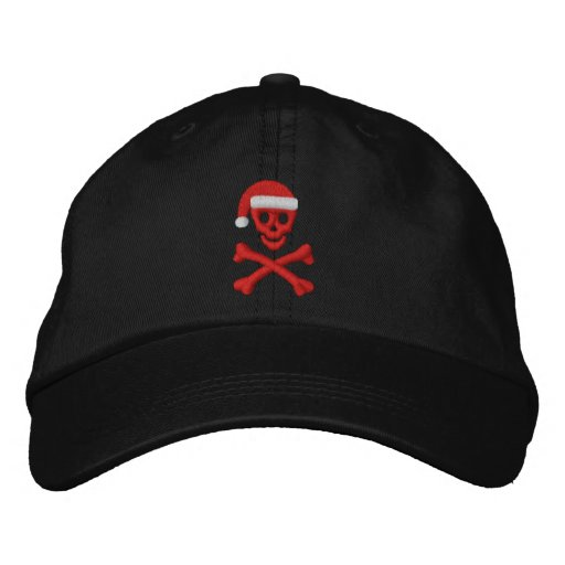 Santa Skull and Crossbones Embroidered Hat