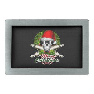 Santa Skull Baker: Merry Christmas Rectangular Belt Buckle