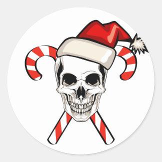 Santa Skull Classic Round Sticker
