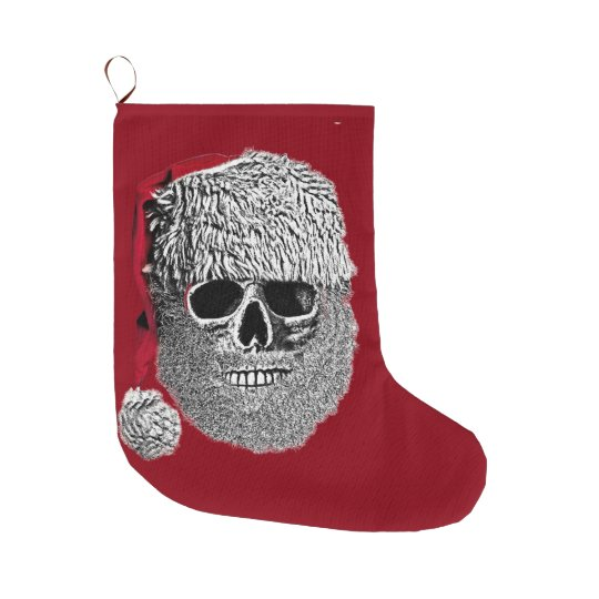 santa skull large christmas stocking - Large Christmas Stockings