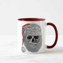 funny, holiday, santa claus, mug, vintage, cool, ringer mug, skull, humor, drink, Caneca com design gráfico personalizado