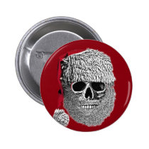 christmas, funny, cool, skull, santa claus, vintage, humor, geek, fun, holidays, humorous, crazy, button, Button with custom graphic design