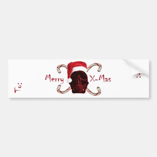 Santa Skull Wine Label Bumper Sticker