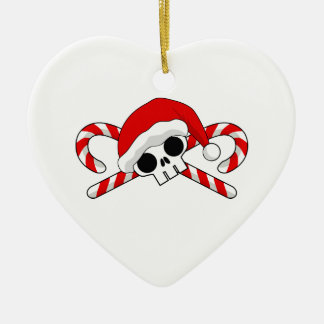 Santa Skull with Candy Canes Ceramic Ornament