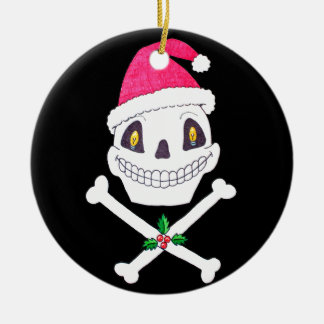 Santa Skull with Holly Leaves Ceramic Ornament