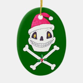 Santa Skull with Holly Leaves Christmas Tree Ornaments