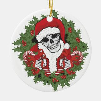Santa Skull with Wreath Christmas Ornament