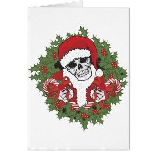 Santa Skull with Wreath Greeting Card