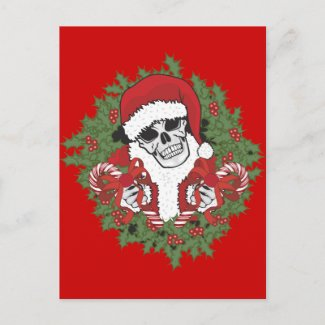 Santa Skull with Wreath Holiday Postcard