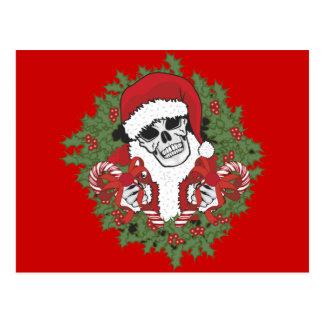 Santa Skull with Wreath Postcard