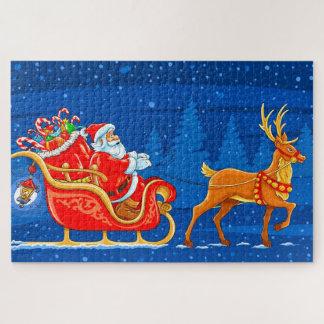 Santa,  Sled  and Reindeer Jigsaw Puzzle
