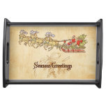 Santa Sled and Reindeer Seasons Greetings Serving Tray