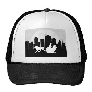 Santa Sled On City Street Mesh Hat