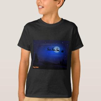 Santa Sled Over Moonlight Landscape T-Shirt