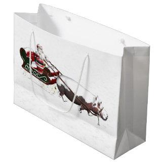 Santa Sled Pulled By Hippopotamus Large Gift Bag