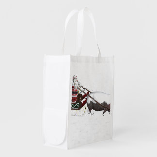 Santa Sled Pulled By Hippopotamus Reusable Grocery Bag