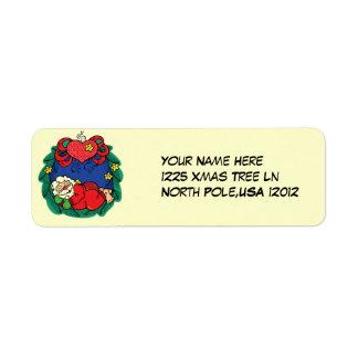 Santa sleeping label return address label