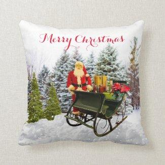 Santa Sleigh and Christmas Gifts Throw Pillow