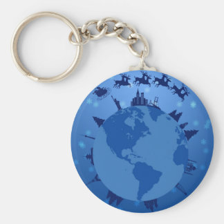 Santa Sleigh and Reindeer Flying Around the World Keychain