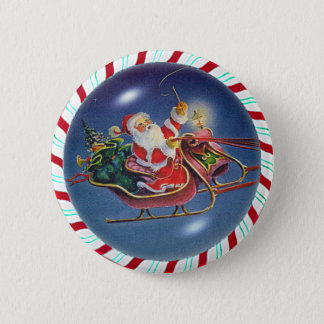 SANTA, SLEIGH & CANDY CANE WREATH BUTTON