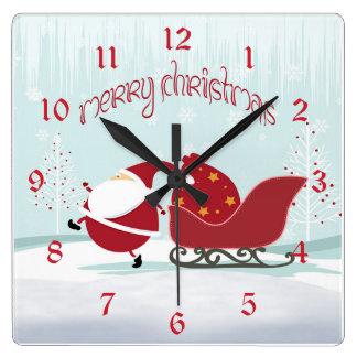 Santa Sleigh Christmas Square Wall Clock