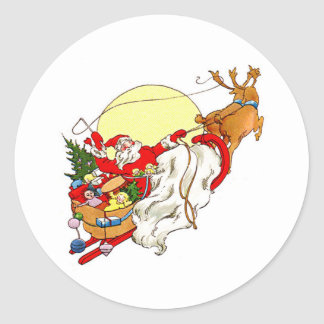 Santa Sleigh Classic Round Sticker