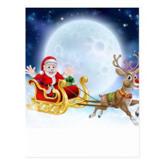 Santa Sleigh Header Postcard