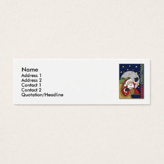Santa Sleigh Illustration Merry Christmas Mini Business Card