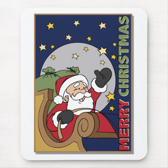 Santa Sleigh Illustration Merry Christmas Mouse Pad