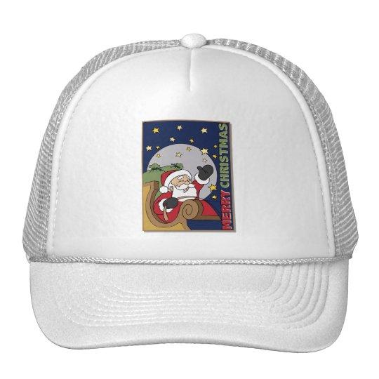 Santa Sleigh Illustration Merry Christmas Trucker Hat
