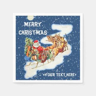 Santa Sleigh Merry Christmas Napkins