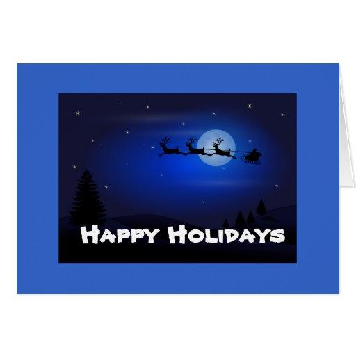 Santa Sleigh over Moon Greeting Card