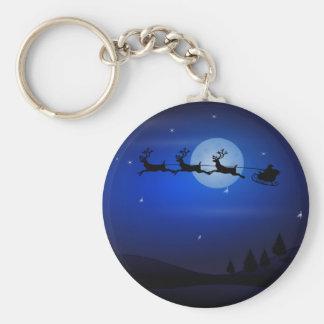 Santa Sleigh Reindeer and Moonlit Landscape Key Chains