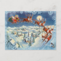 SANTA, SLEIGH & REINDEER by SHARON SHARPE Holiday Postcard