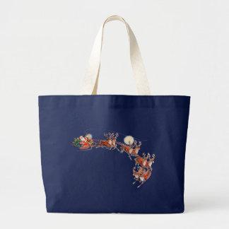 SANTA, SLEIGH & REINDEER by SHARON SHARPE Large Tote Bag