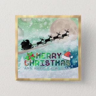 Santa Sleigh Reindeer Christmas Button