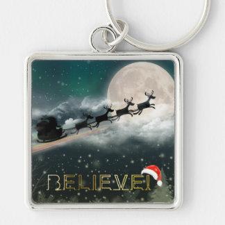 Santa Sleigh Reindeer Christmas Button Keychain