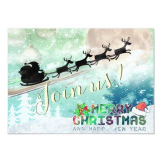 Santa Sleigh Reindeer Christmas Party Invitation