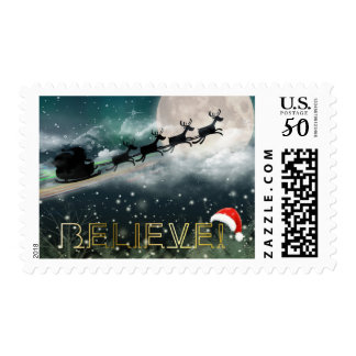Santa Sleigh Reindeer Christmas Postage Stamps