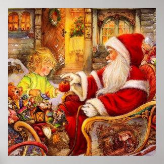 Santa sleigh - Santa claus illustration Poster