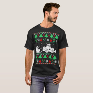 Santa Sleigh Snow Plow Tractor Christmas Ugly T-Shirt
