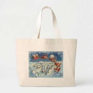 SANTA, SLEIGH & SNOWFLAKES by SHARON SHARPE Jumbo Tote Bag
