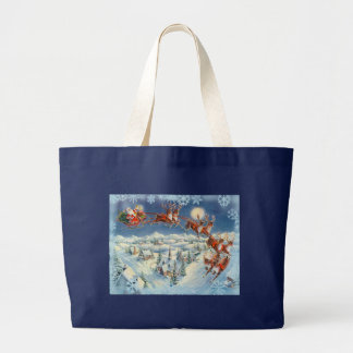 SANTA, SLEIGH & SNOWFLAKES by SHARON SHARPE Large Tote Bag